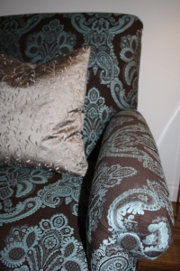 Chair reincarnation ~ in a bold print and my favorite blue