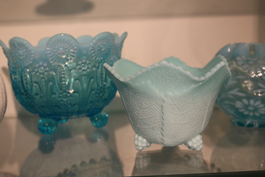 The only piece of blue milk glass I have ever seen (center) (photo Sue Womersley