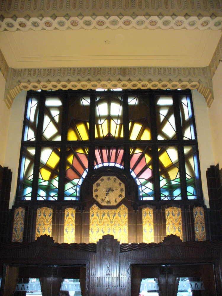 Marine Building Clock and Stained Glass