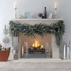 Beautiful Swag Greenery on Fireplace