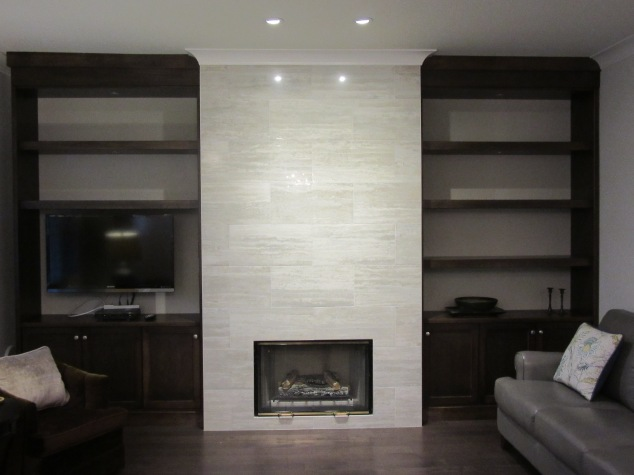 Fireplace and built in bookcases Morgan Creek
